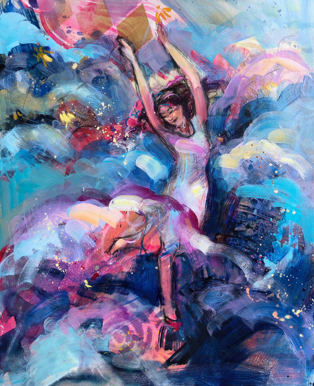 Heaven dancers 11 mixed media oil on wood 20x16 icazjr