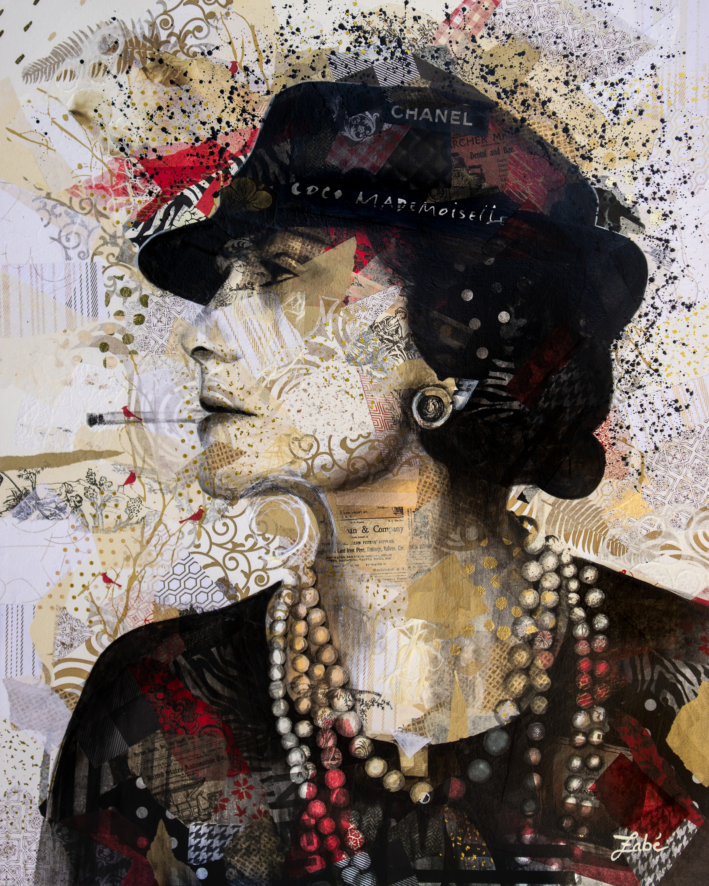 24x30 zabe arts chanel collage painting s7dkv0