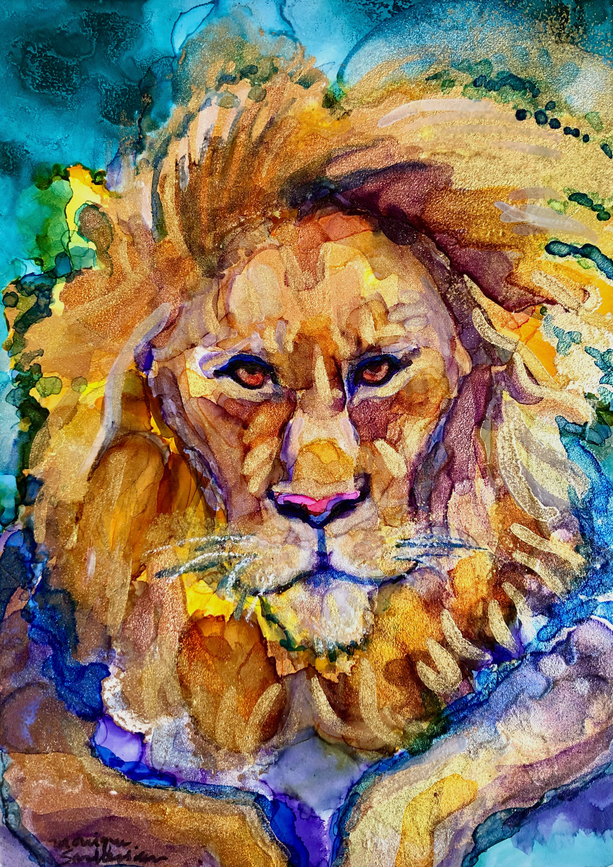 Ready to roar 19 golden lion alcohol ink on wood 7x5 zqr2pe