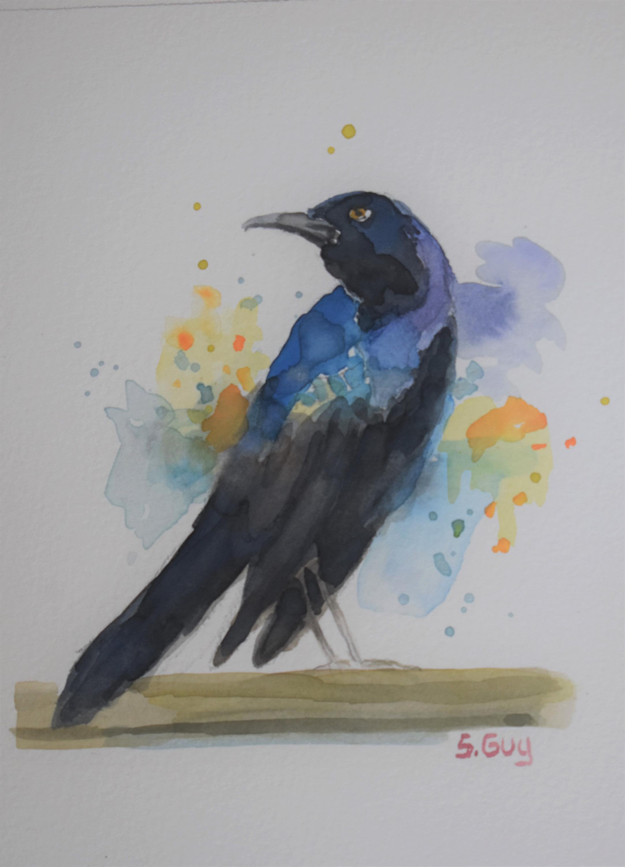 Dazzling grackle bird painting jrhsxk