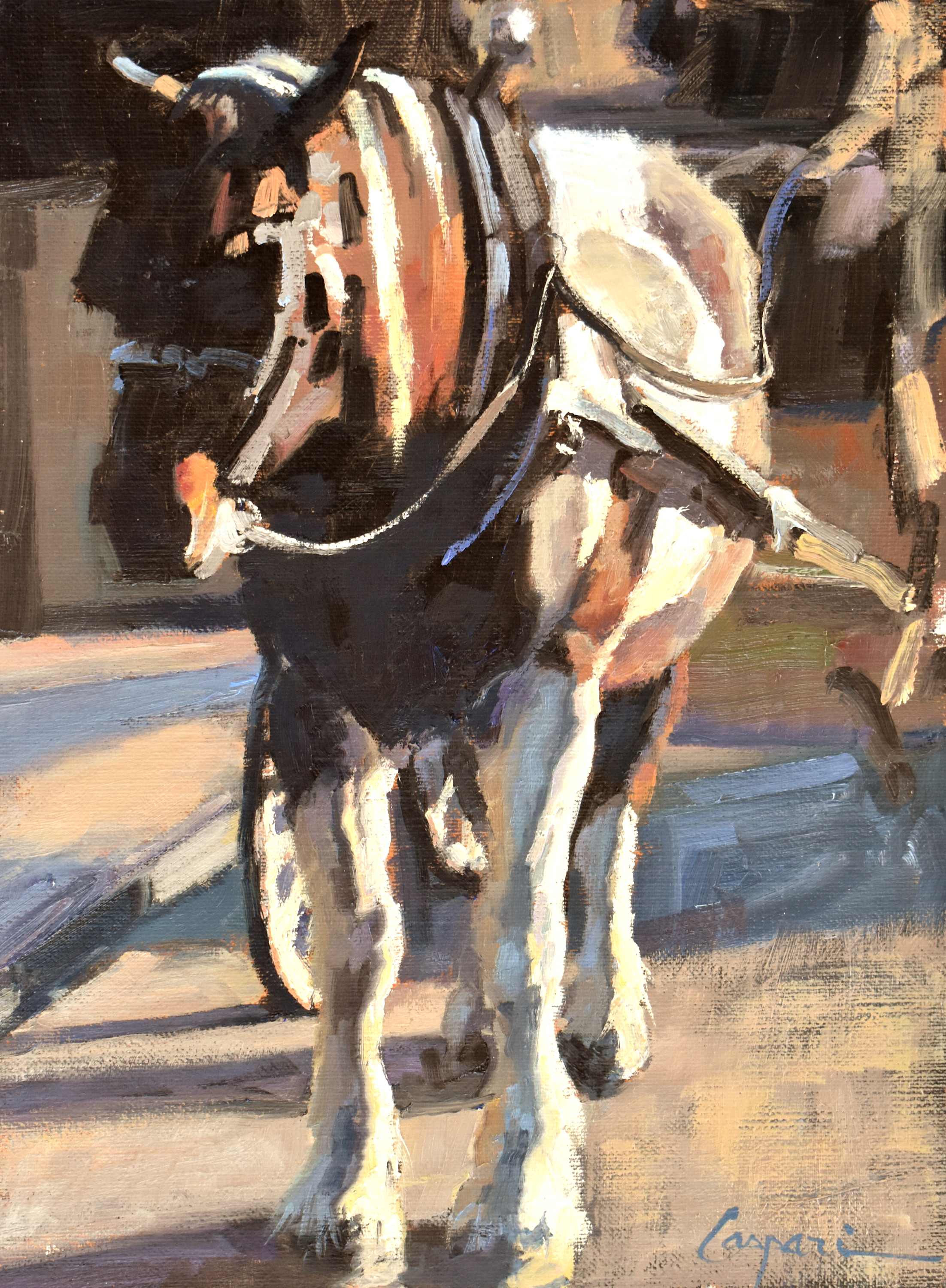 Carriage paint horse 12 22x16 22 oil 2021 bacgom