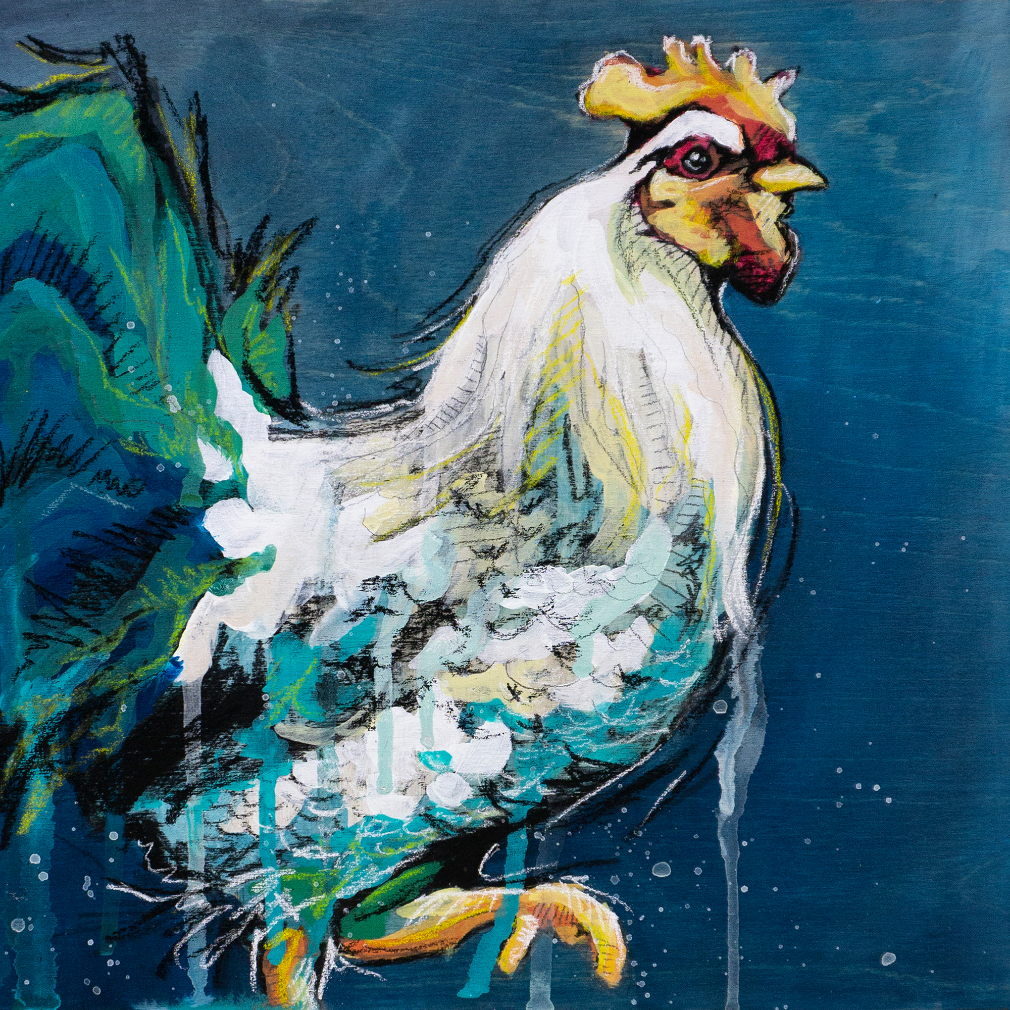 Colorful rooster painting final original e7yynz